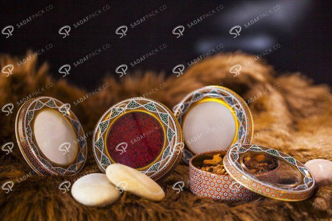 ##tt##-Saffron Metal Container White Bottom Circle 11 High Bottom