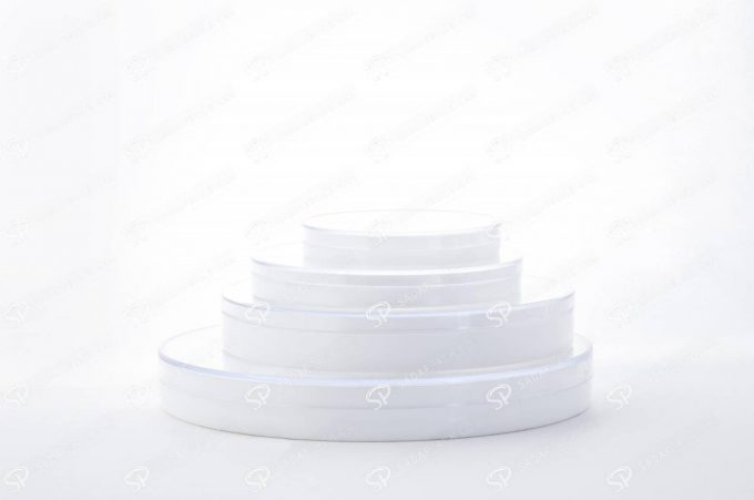 علبة الزعفران الكريستالية قاعدة بيضاء مستدير و عميق 1 ( 6.5)