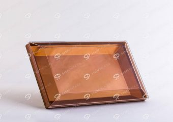 ##tt##-Crystal Container - Golden Bottom Designed Rectangular 200