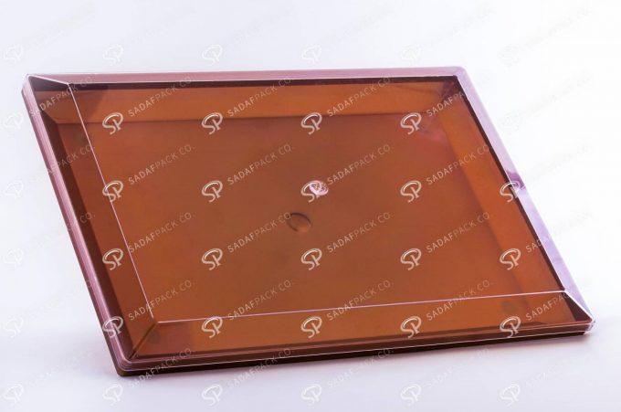 ##tt##-Crystal Container - Golden Bottom Designed Rectangular 500